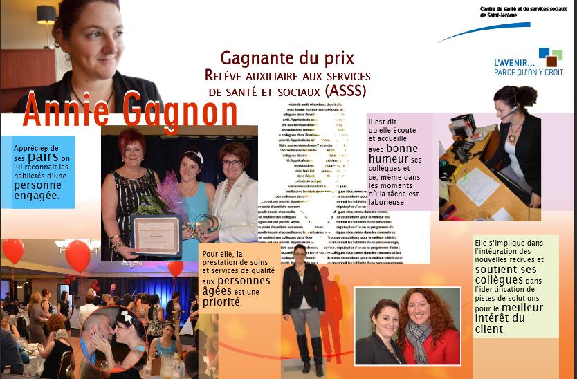 Affiche pour une gagnante d'un concours au CSSS de Saint-Jérôme
